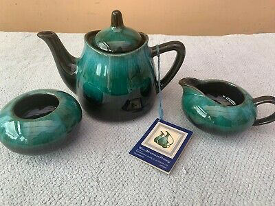 Blue Mountain Pottery Teal Glaze Teaset  - Teapot, Milk Jug & Sugar Bowl, Mint • 10£