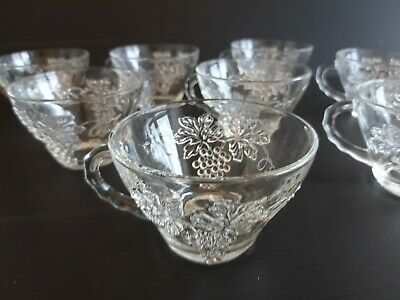 Anchor Hocking Vintage Grape Design Pressed Glass Punch Glass Set Of 8  • 5£