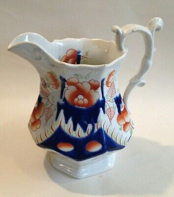 Antique Gaudy Welsh Jug ~ Cambrian Rose Pattern / Swansea Cottage • 20£
