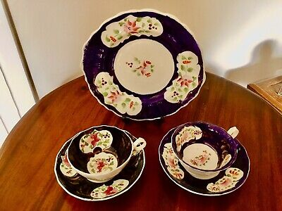 Gaudy Welsh - Columbine Pattern - Plate And 2 Cups & Saucers • 30£