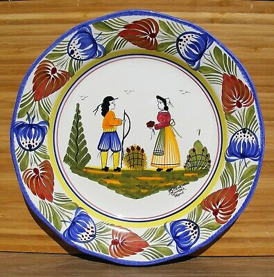 Quimper - Henriot Quimper Hand Painted Plate Initialed By The Artist - Excellent • 29.99£
