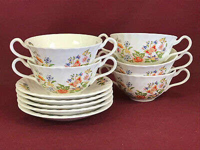 AYNSLEY COTTAGE GARDEN 5x SOUP CUPS & SAUCERS - BRAND NEW/UNUSED Made In England • 17.99£