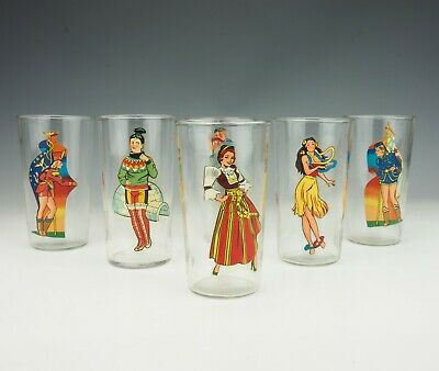 Vintage Set Of Six Highball Glasses - With Clothed Naked Glamour Girls - 1940's • 0.99£