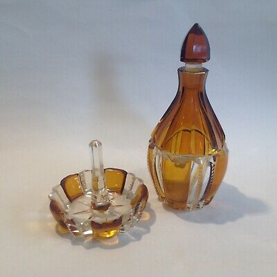 Antique Vintage Baccarat ? Cut Crystal Glass Perfume Bottle & Ring Stand.  • 20£