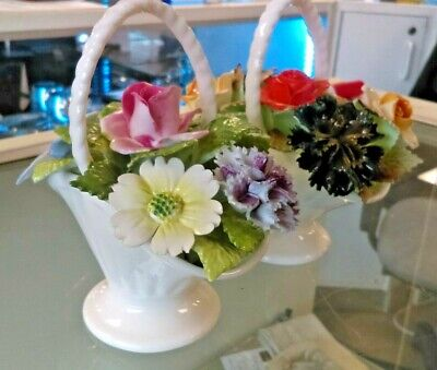 A Pair Of Royal Adderley  Small Porcelain Floral Baskets • 10£