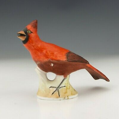 Crown Staffordshire Porcelain Hand Painted Red Cardinal Bird - Signed J Bromley • 9.99£