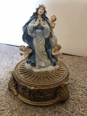 Our Lady Of The Rosary & Cherubs/Angels Statue Trinket Box Limited Edition • 26.99£
