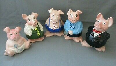 NAT WEST Pig Moneyboxes, Full Family Set Of 5 Pigs, WADE, Original Stoppers • 22£