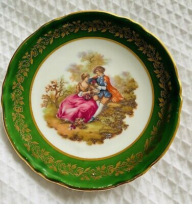 """La Reine Limoges: Fragonard Lovers Green Small Collectable Plate 4.5"""" • 1.99£"""