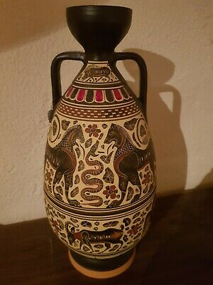 Replica Hand Painted Greek Pottery Vase. Lovely Condition. 30cm Tall • 7.50£