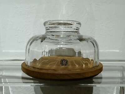 Dartington Crystal Cheese Dome With Wooden Base • 10£