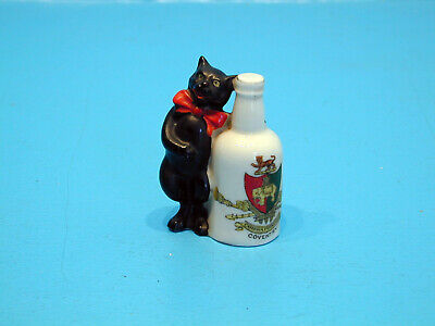 1920's Arcadian Crested China Black Cat Standing Next To Bottle - Coventry • 19.99£