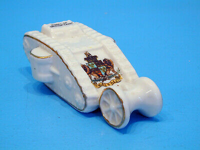 Regis WWI Crested China Tank With Trailing Wheels - Walsall • 19.99£