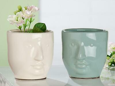 Striking Tribute To Picasso Italian Art Glazed Ceramic Abstract Face Vases X 2 • 4.99£