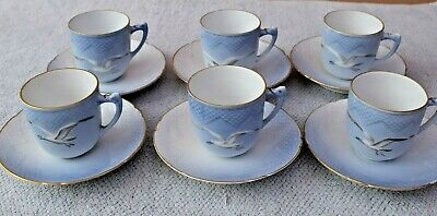 6 Bing & Grondahl Seagull Small Coffee Cups & Saucers  B&G • 50£