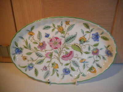 Minton Haddon Hall Green Edge Oval Teapot Stand Or Serving Tray • 15£