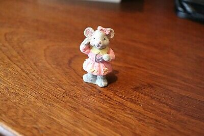 Small Ceramic Grey Mouse Figure, Girl Mouse Ornament, Figurine Pink Dress • 3.75£