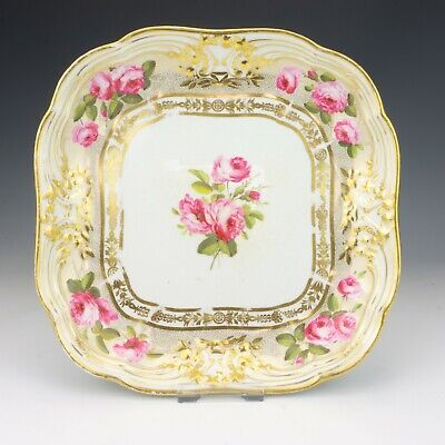 Antique Bloor Derby Porcelain Hand Painted Rose Decorated Gilded Dish - Lovely! • 25£