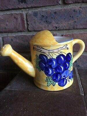 Country Crafts Hand Painted Watering Can Blue Grape Design • 9.50£