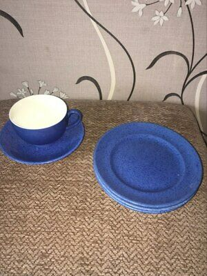 Moorcroft Powder Blue Cup And Saucer And Three Tea Plates • 10£