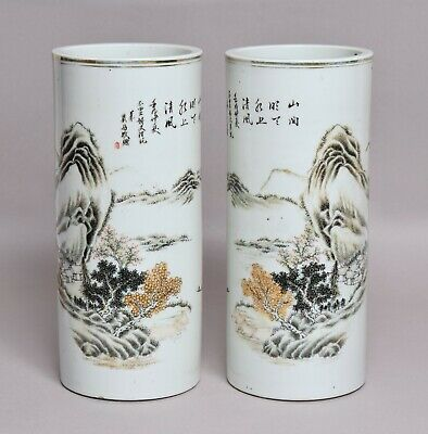 A Good Pair Of Large Antique Chinese Porcelain Sleeve Vases With Calligraphy • 26£
