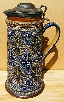 Doulton Lambeth - Stoneware Flagon With Plated Lid By Frances Lee - Dated 1877  • 139.99£