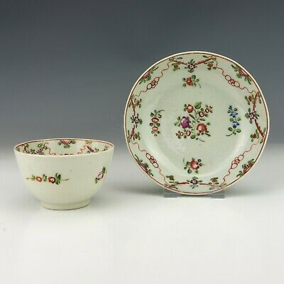 Antique New Hall Porcelain - Hand Painted Garland Decorated Tea Bowl & Saucer • 9.99£