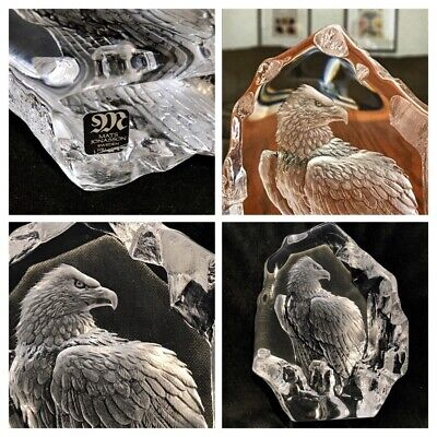 Mats Jonasson, Sweden, Crystal Eagle, Paperweight, Signed Euc • 36.62£
