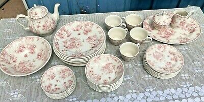 Churchill Pink Toile 42 Pc Fine China Dinner Dining Set England • 128.86£