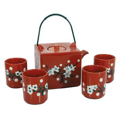 Chinese Square Tea Set - Vibrant Red Cherry Blossom Pattern - Four Cups • 28.75£