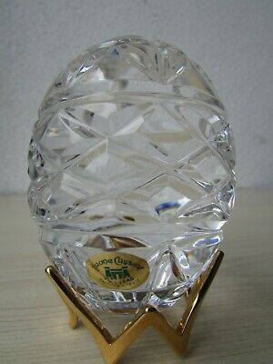 Tyrone Crystal Cut Glass Egg On Stand - With Etch Mark And Label. • 24.95£