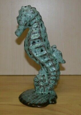 Vintage Dragon Pottery Hand Crafted Green Glazed 8  Seahorse  Anglesey Wales  • 15£