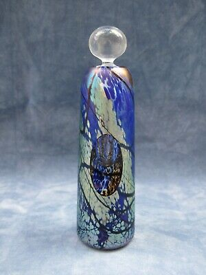 Okra Glass Perfume Bottle Flared Cylindrical With Oval Cut Facet Rare • 125£