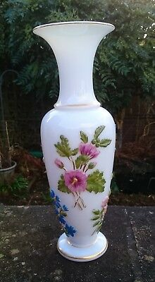 Stunning Antique French Baccarat Opaline Vase Decorated With Flowers Victorian • 250£