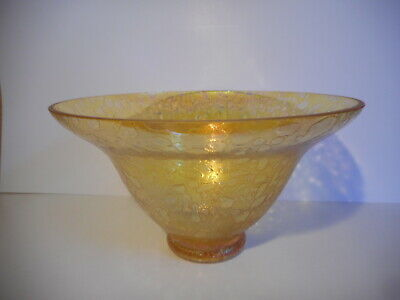 Heron Yellow Iridescent Glass Footed Bowl • 20£