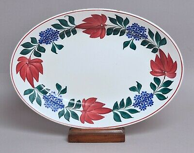 A Very Attractive Large Antique Spongeware Pottery Oval Dish, Welsh? • 0.99£