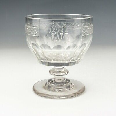Antique Georgian Glass Rummer - Facet Cut Wine Drinking Glass • 29£