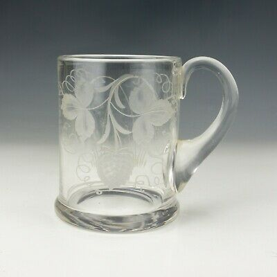 Antique Georgian Hop & Barley Decorated Pint Ale Drinking Glass Tankard - Early! • 31£