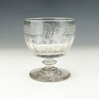 Antique Georgian Glass Rummer - Facet Cut Wine Drinking Glass - Lovely! • 16£