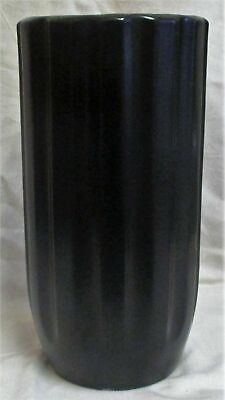 Large 12  Art Deco Athens 23 Made In England Black Ribbed Vase • 34.99£