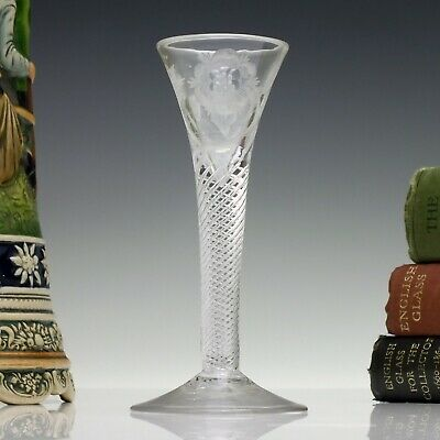 Rare Jacobite Engraved 18th Century Art Twist Cordial Glass C1750 • 1,620£