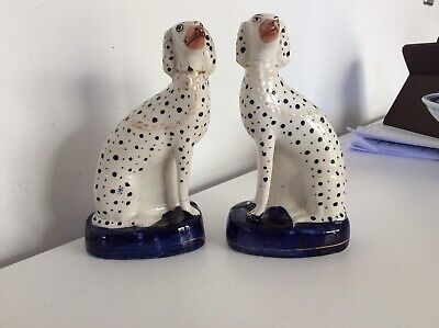 A Pair Of, Antique Staffordshire Seated Dalmations, On Cobalt Blue Bases, C1860. • 3.19£
