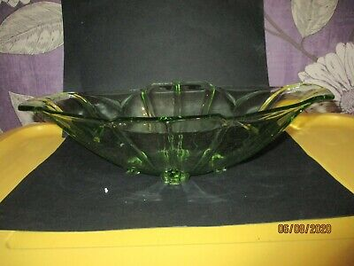 Vintage Art Deco Long Green Pressed Glass Bowl • 1.50£