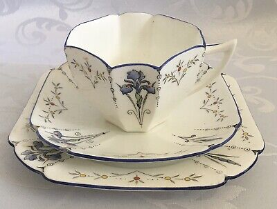 Shelley Queen Anne Blue Iris Cup, Saucer And Side Plate Number 11561 C1928 • 26£