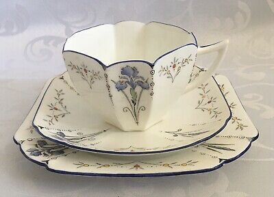 Shelley Queen Anne Blue Iris Cup, Saucer And Side Plate Number 11561 C1928 • 11.99£