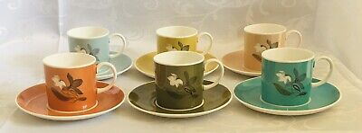 Vintage Susie Cooper 6 Coffee Cups & Saucers Excellent Condition • 105£