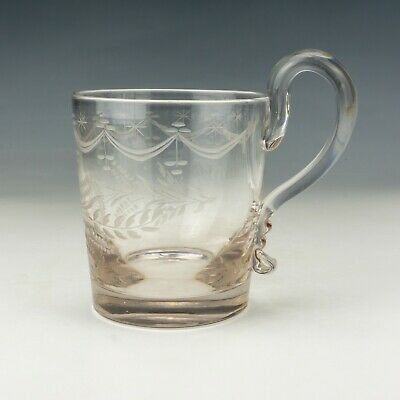 Antique Georgian Swag & Pineapple Decorated Ale Drinking Glass Tankard - Early! • 3.86£
