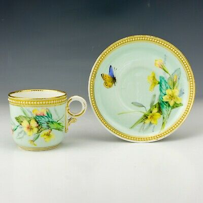 Royal Worcester - Butterfly Painted Jewelled & Gilded China Cup & Saucer • 16£