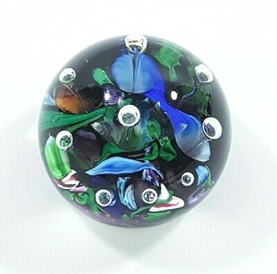 VINTAGE Old Glass Paperweight With Signature & Flower Design With Bubbles   • 16.99£