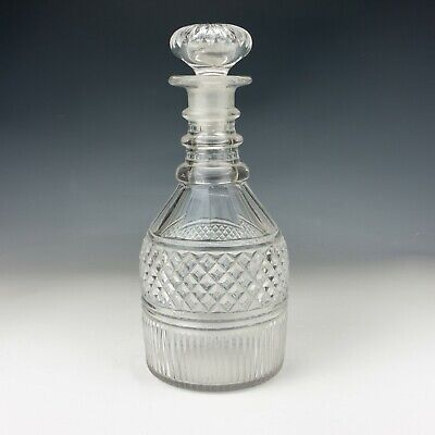 Antique Georgian Glass - Diamond Stawberry Cut Glass Crystal Decanter • 19.99£